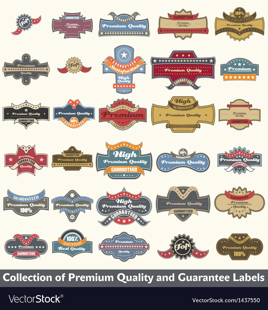 Premium quality and guarantee label collection vector | Price: 3 Credit (USD $3)