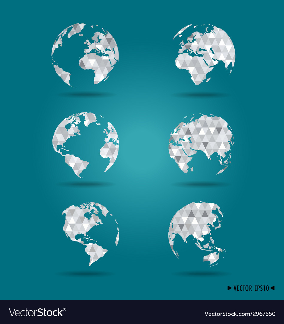 Set of modern globes vector | Price: 1 Credit (USD $1)