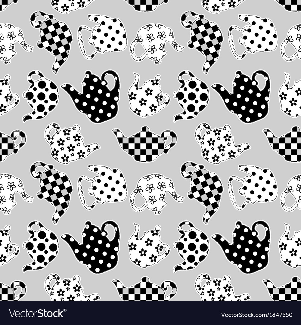 Teapots black and white patchwork seamless pattern vector | Price: 1 Credit (USD $1)