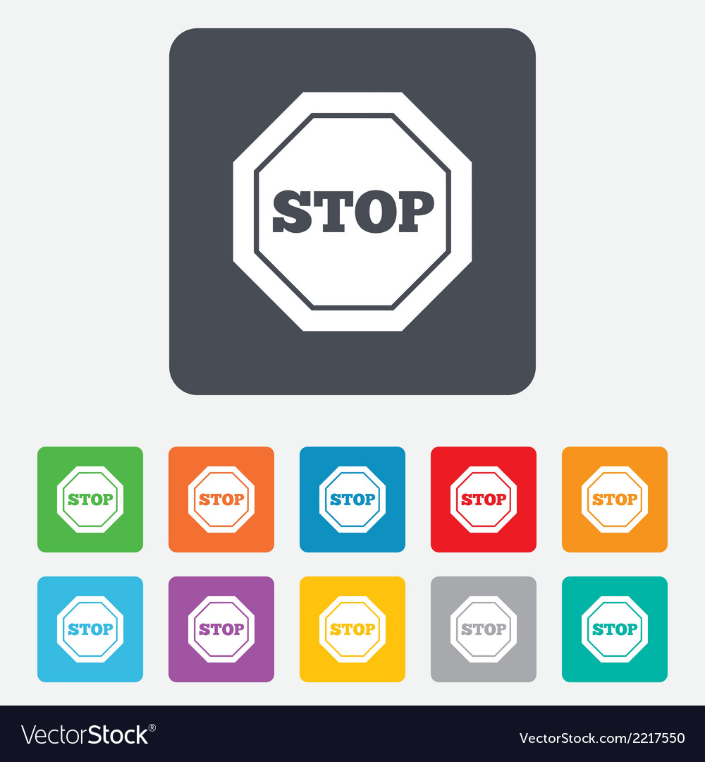 Traffic stop sign icon caution symbol vector | Price: 1 Credit (USD $1)