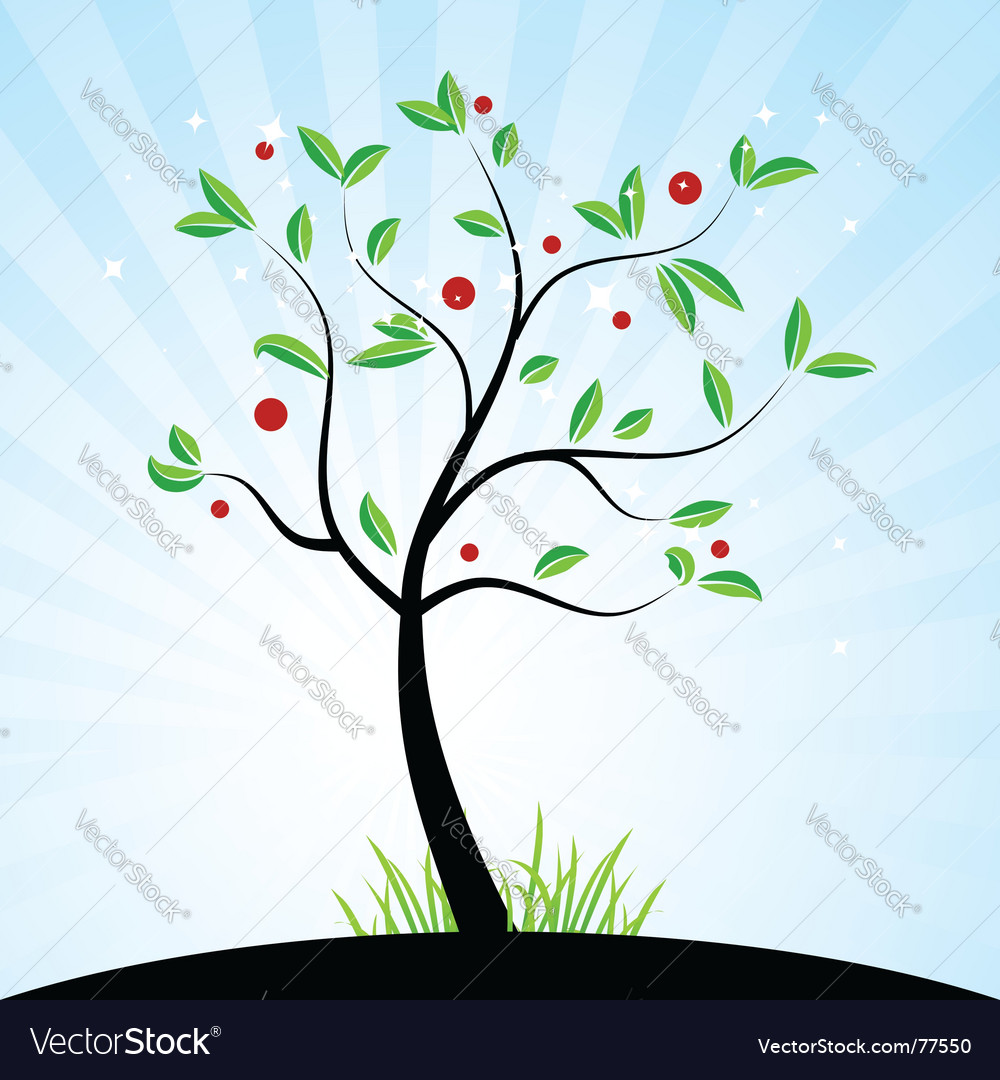 Tree with berries vector | Price: 1 Credit (USD $1)