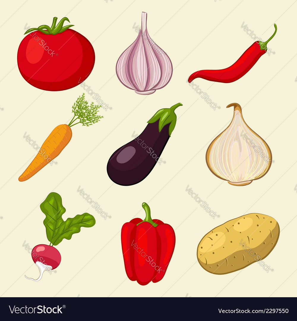 Vegetables icons set vector | Price: 1 Credit (USD $1)