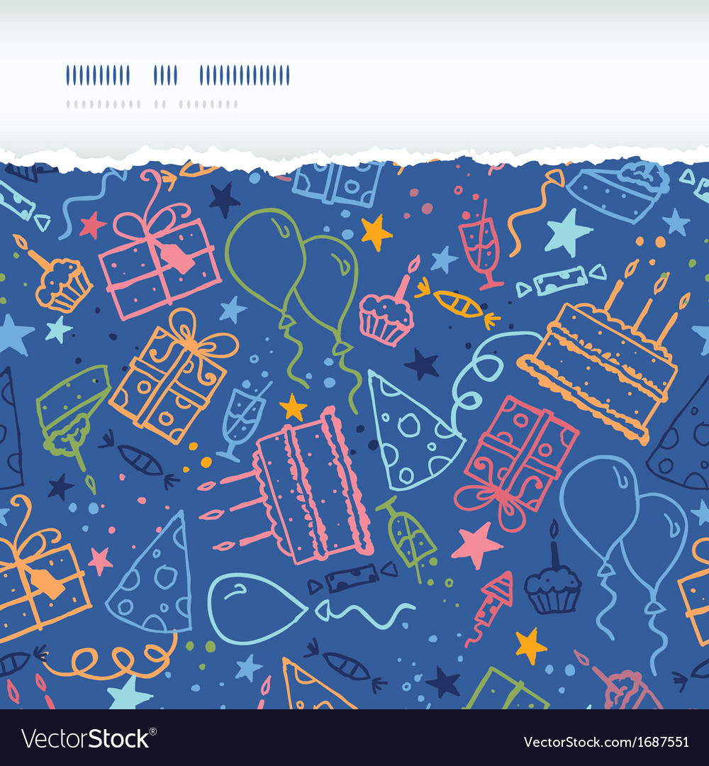 Birthday horizontal torn seamless pattern vector | Price: 1 Credit (USD $1)