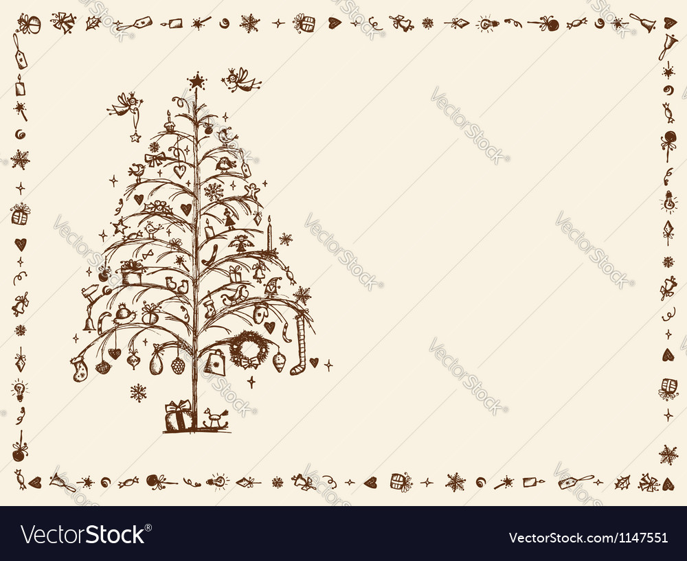 Christmas card sketch drawing for your design vector   Price: 1 Credit (USD $1)