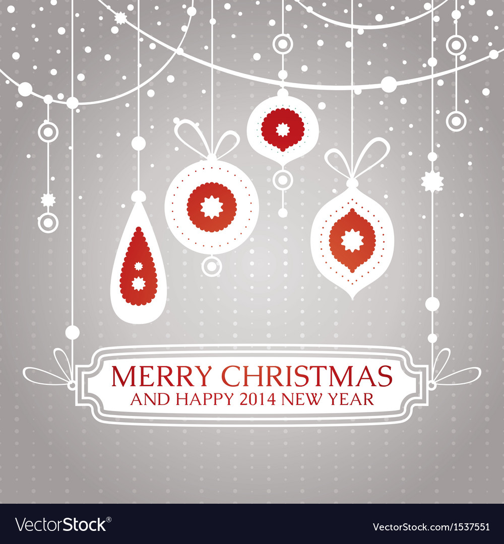 Christmas retro vintage greeting card vector | Price: 1 Credit (USD $1)