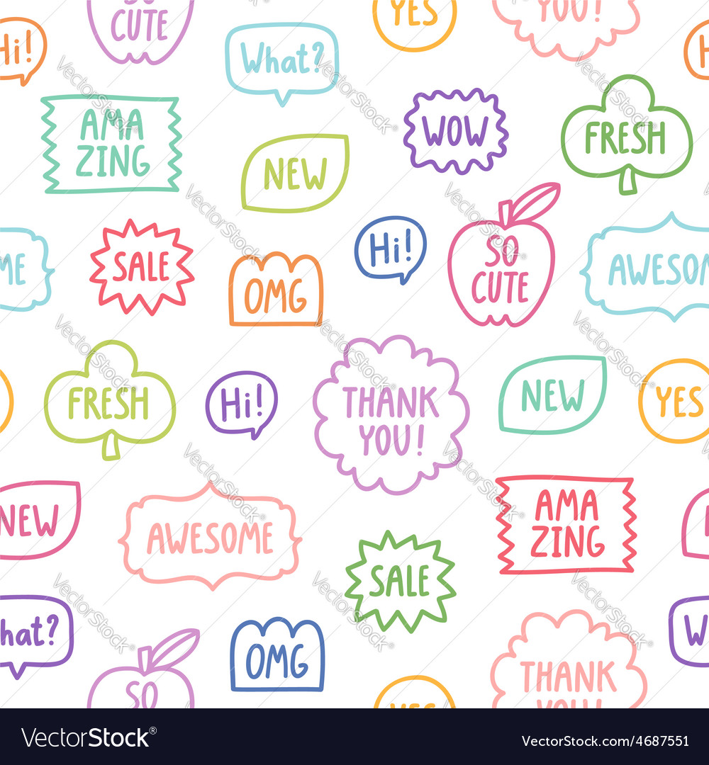 Colorful outline phrases seamless pattern on white vector   Price: 1 Credit (USD $1)