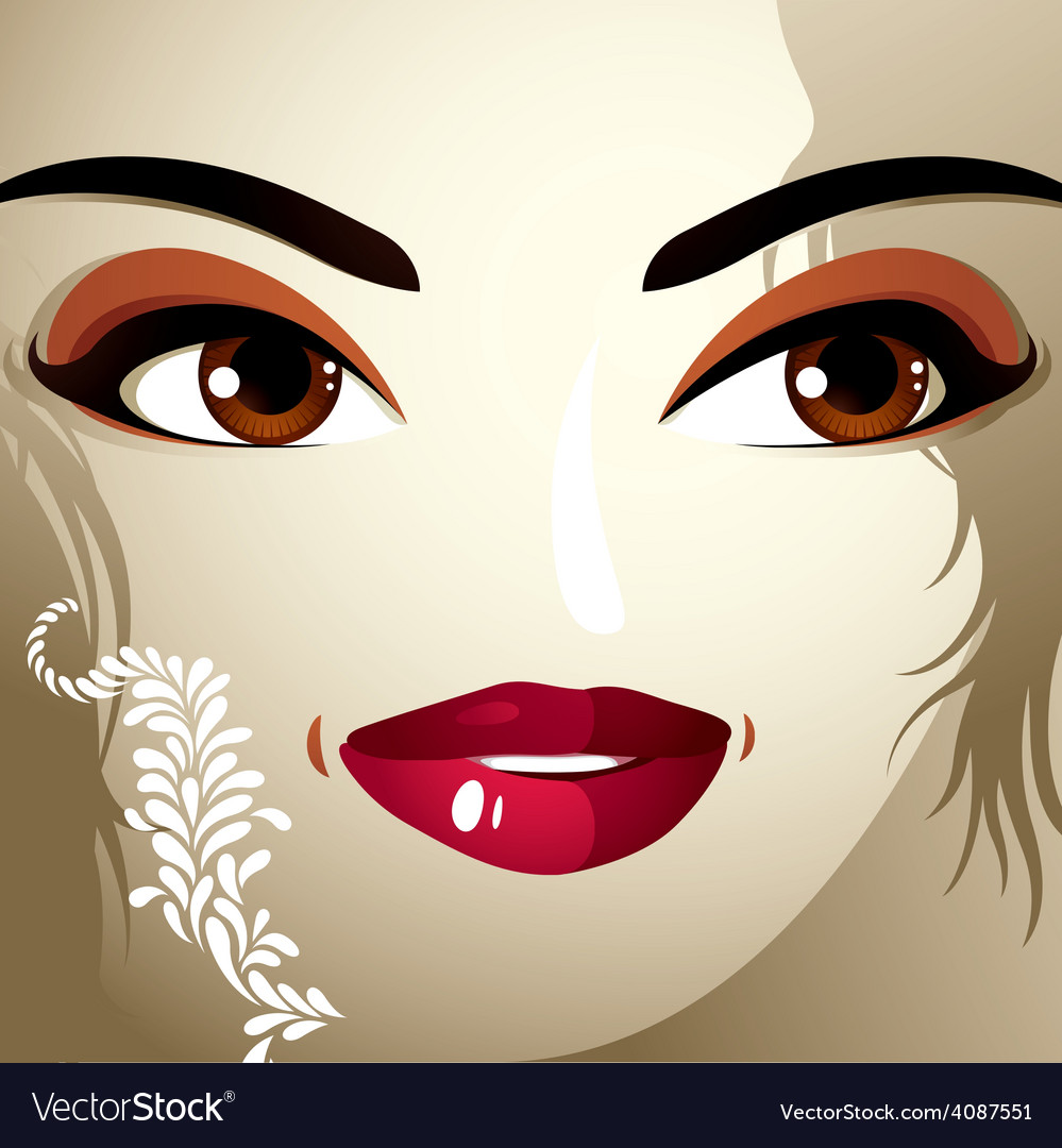 Emotional expression on the face of a cute girl vector | Price: 1 Credit (USD $1)
