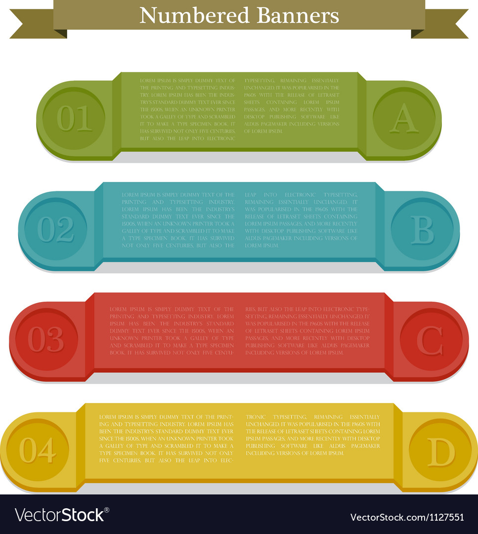 Full colors numbered banners vector | Price: 1 Credit (USD $1)