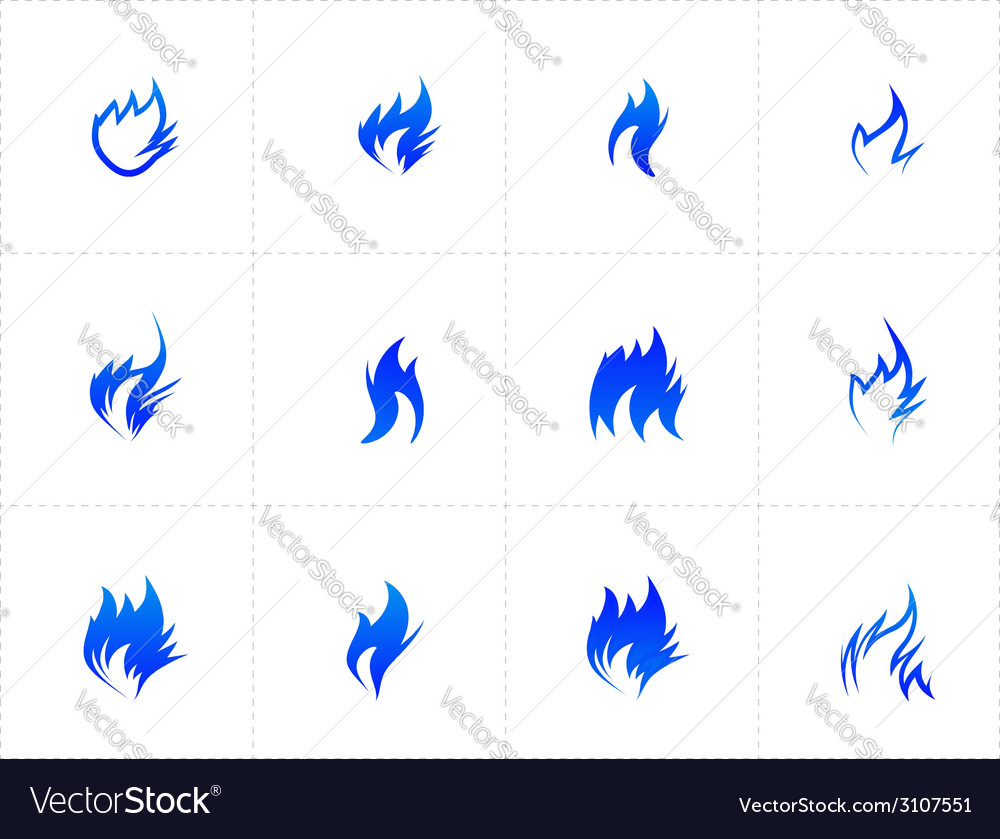 Gas fire icon set vector | Price: 1 Credit (USD $1)