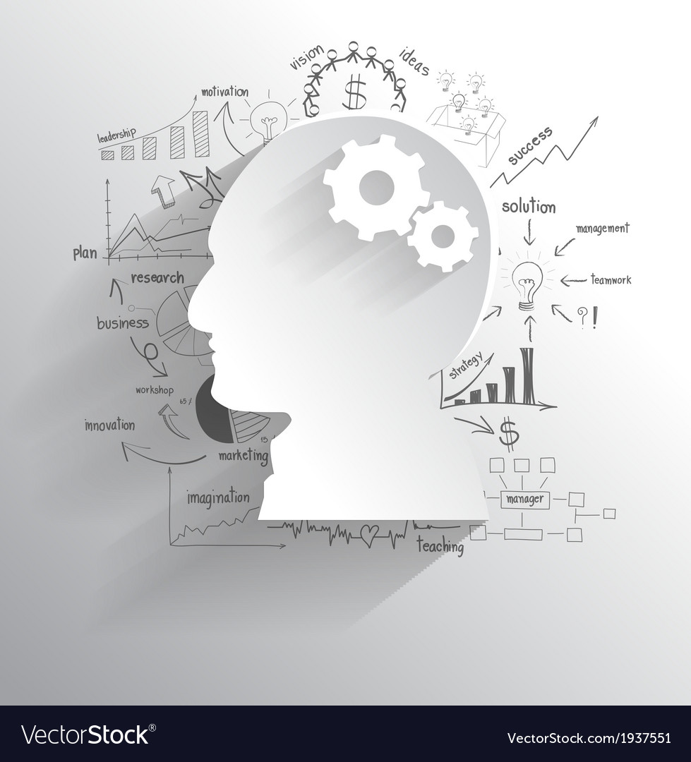 Human head with set of gears as a brain idea vector | Price: 1 Credit (USD $1)