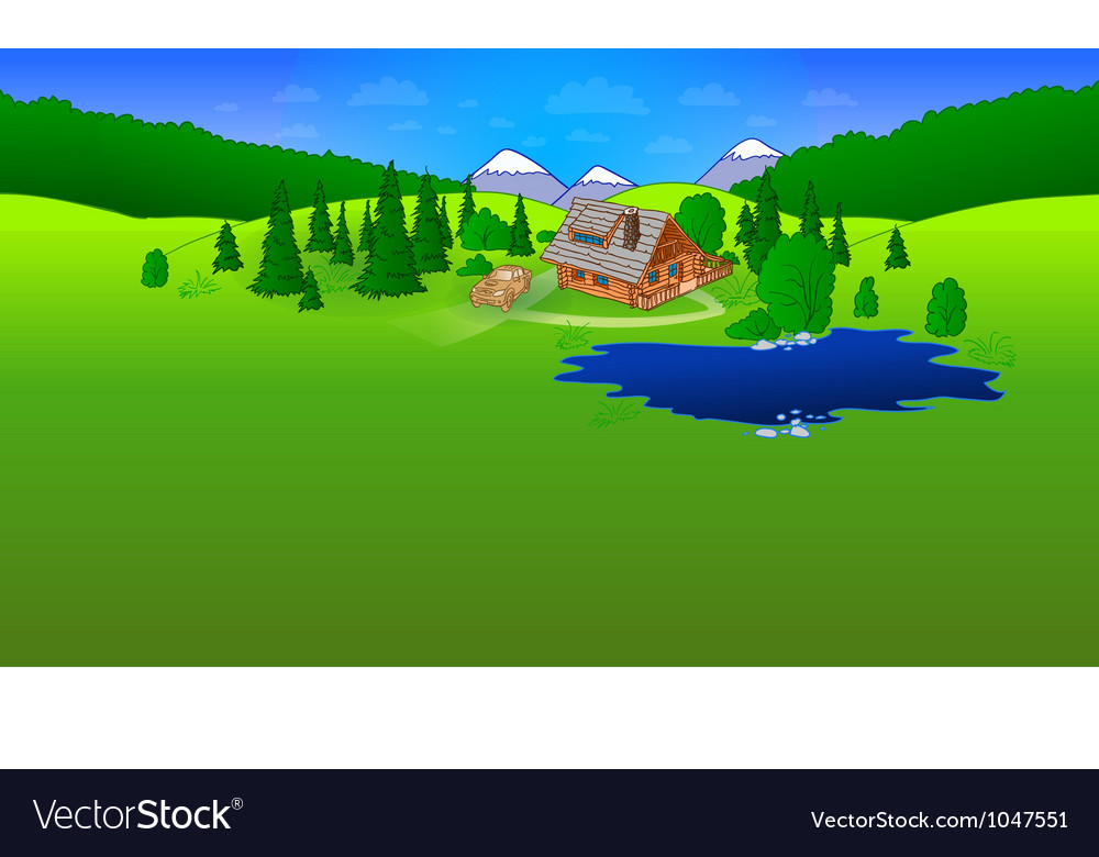 Hut in forrest scene vector | Price: 1 Credit (USD $1)