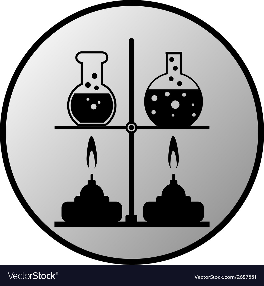 Laboratory burner and flask button vector | Price: 1 Credit (USD $1)