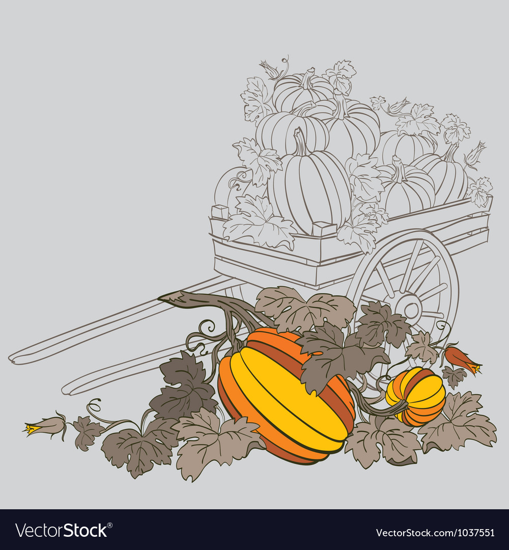 Pumpkins in wagon vector | Price: 1 Credit (USD $1)