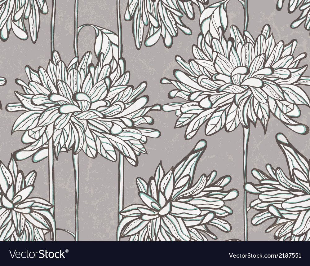 Seamless pattern with chrysanthemum vector | Price: 1 Credit (USD $1)