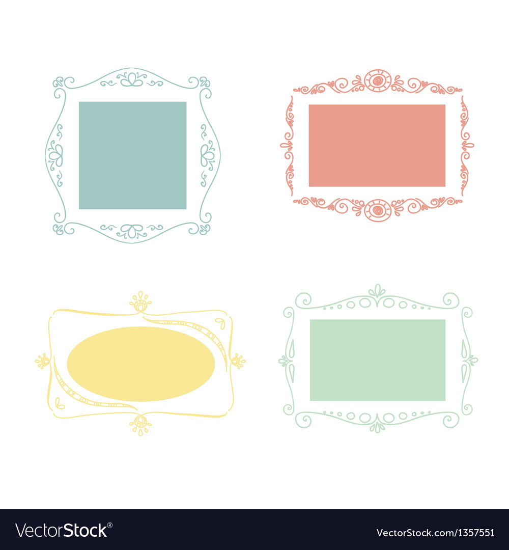 Set of doodle frames vector | Price: 1 Credit (USD $1)