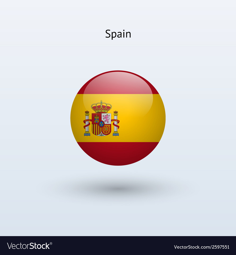 Spain round flag vector | Price: 1 Credit (USD $1)