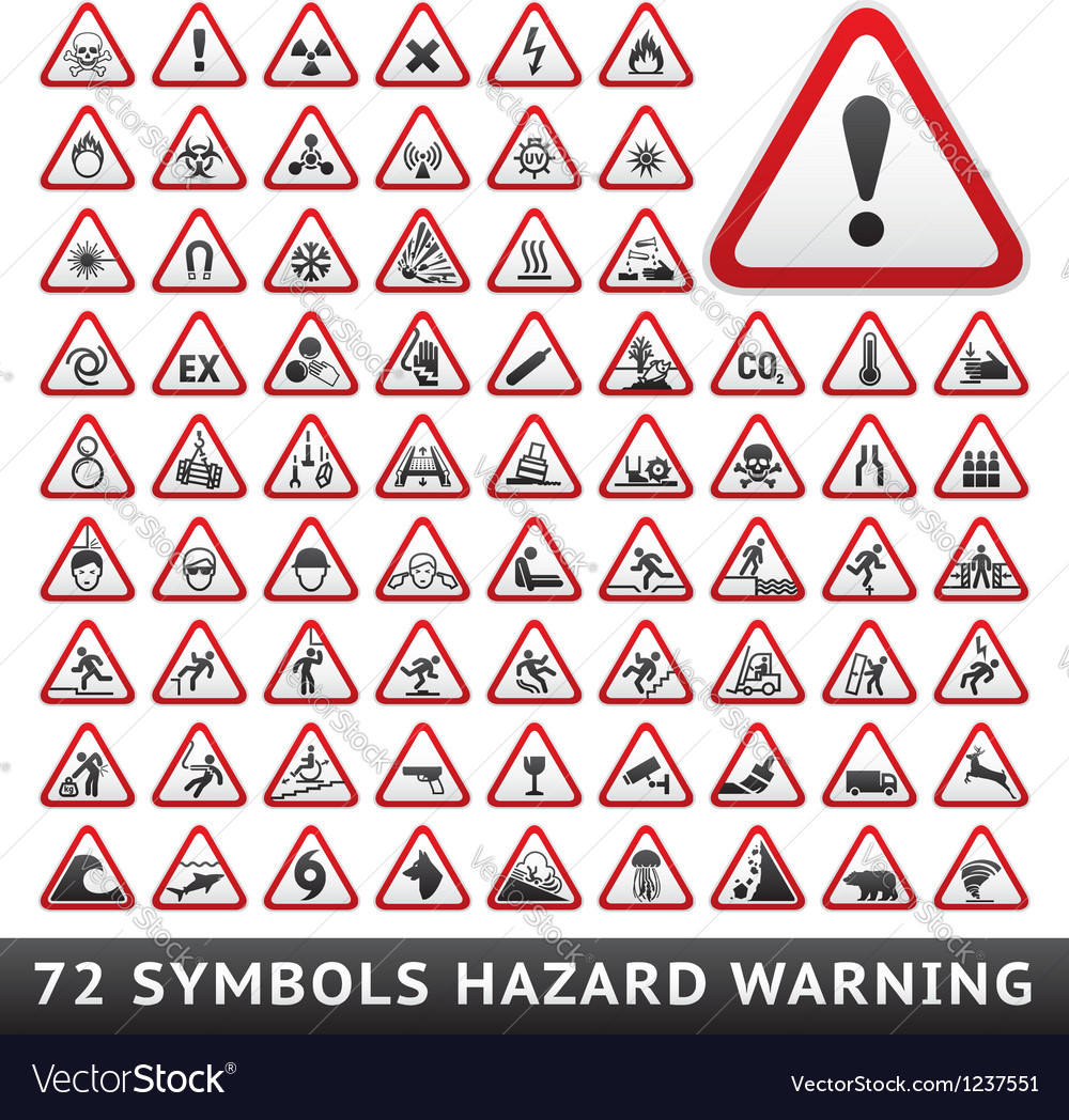 Triangular warning hazard symbols big red set vector | Price: 1 Credit (USD $1)