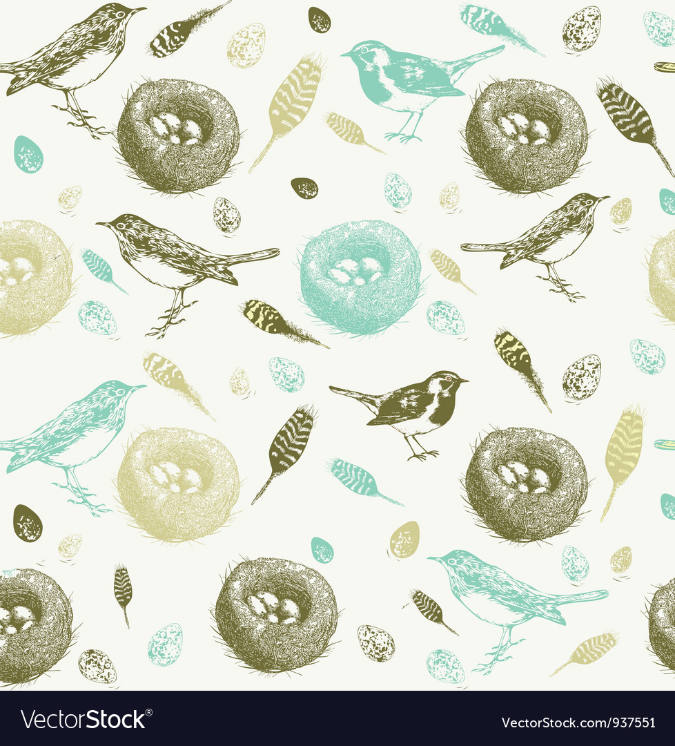 Vintage bird nest pattern vector | Price: 1 Credit (USD $1)