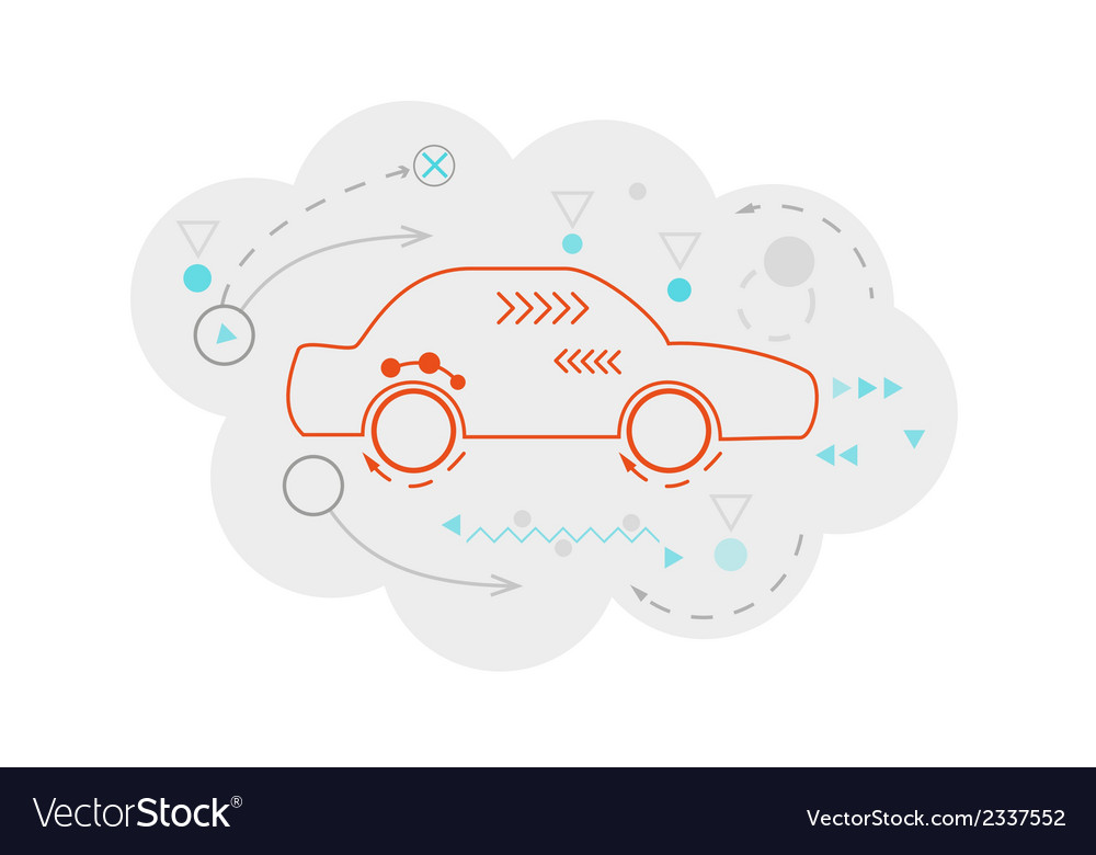 Abstract map of the cloud with car and lines vector | Price: 1 Credit (USD $1)