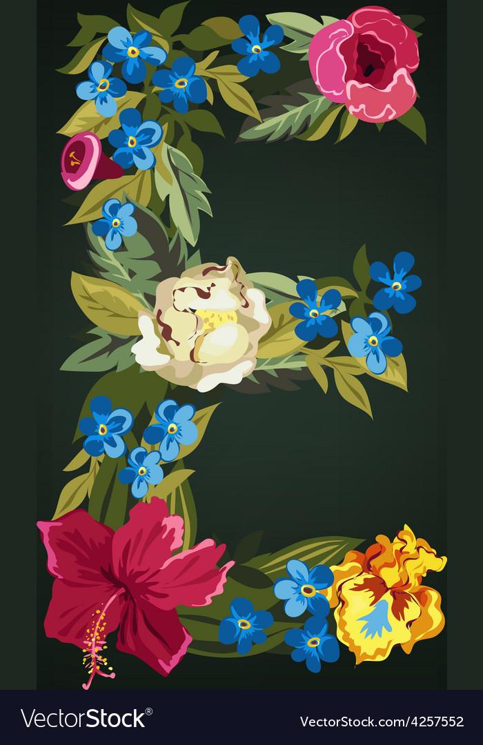 E letter flower capital alphabet colorful font vector | Price: 1 Credit (USD $1)