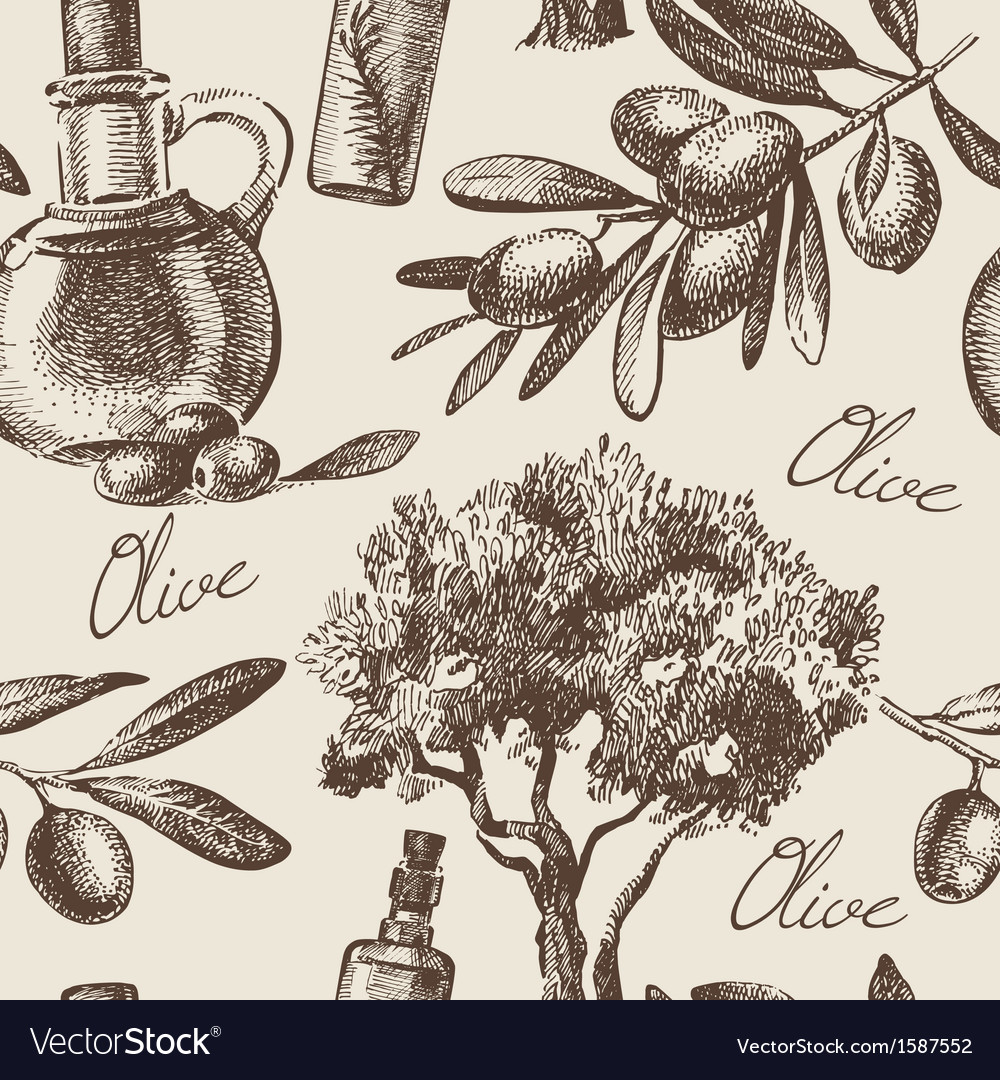 Hand drawn vintage olive seamless pattern vector | Price: 1 Credit (USD $1)