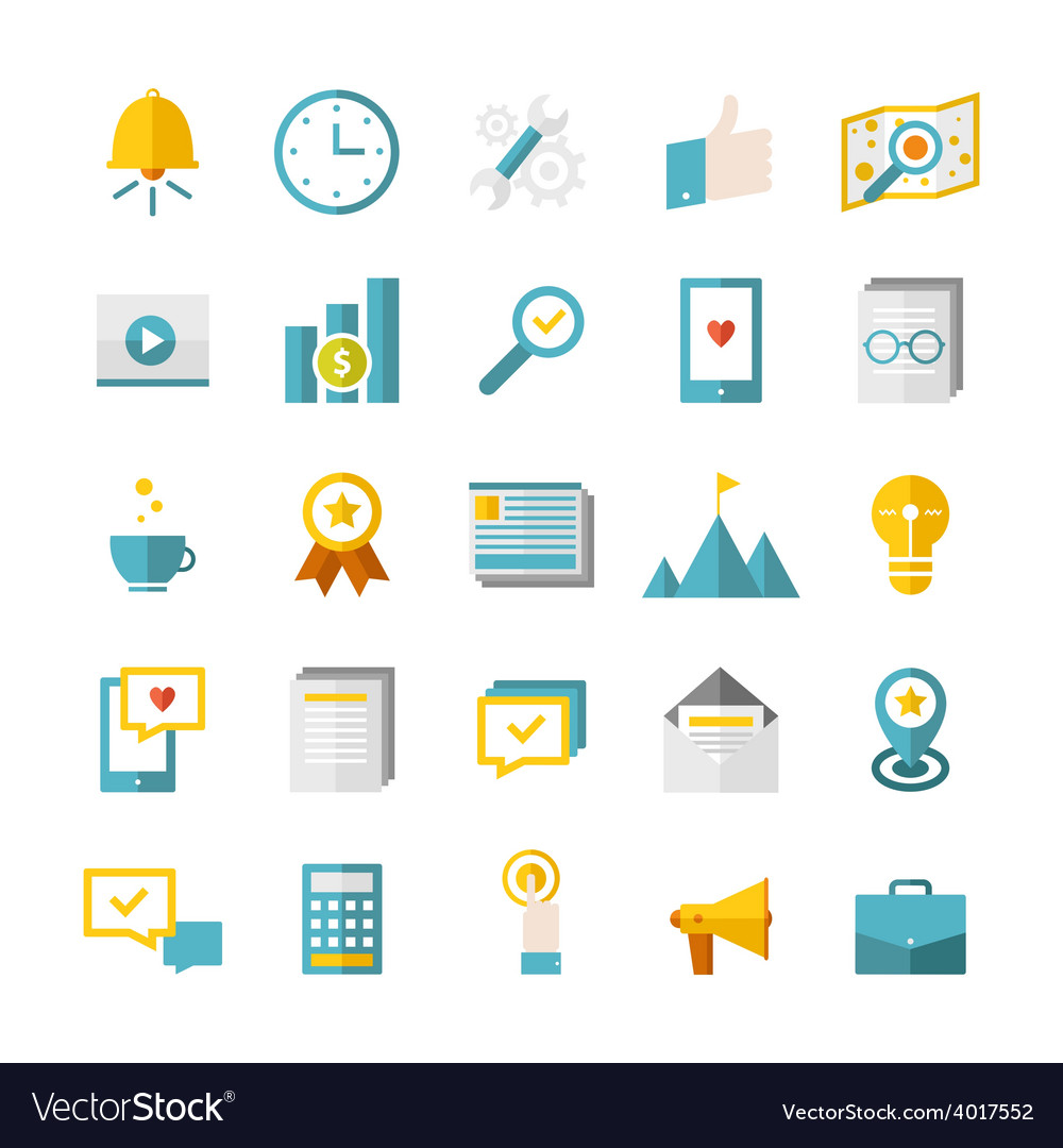 Modern flat business icons vector