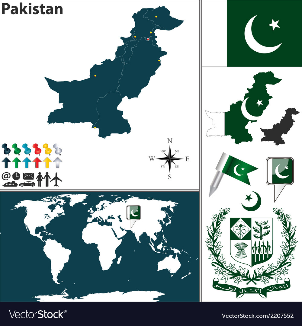 Pakistan map world vector | Price: 1 Credit (USD $1)