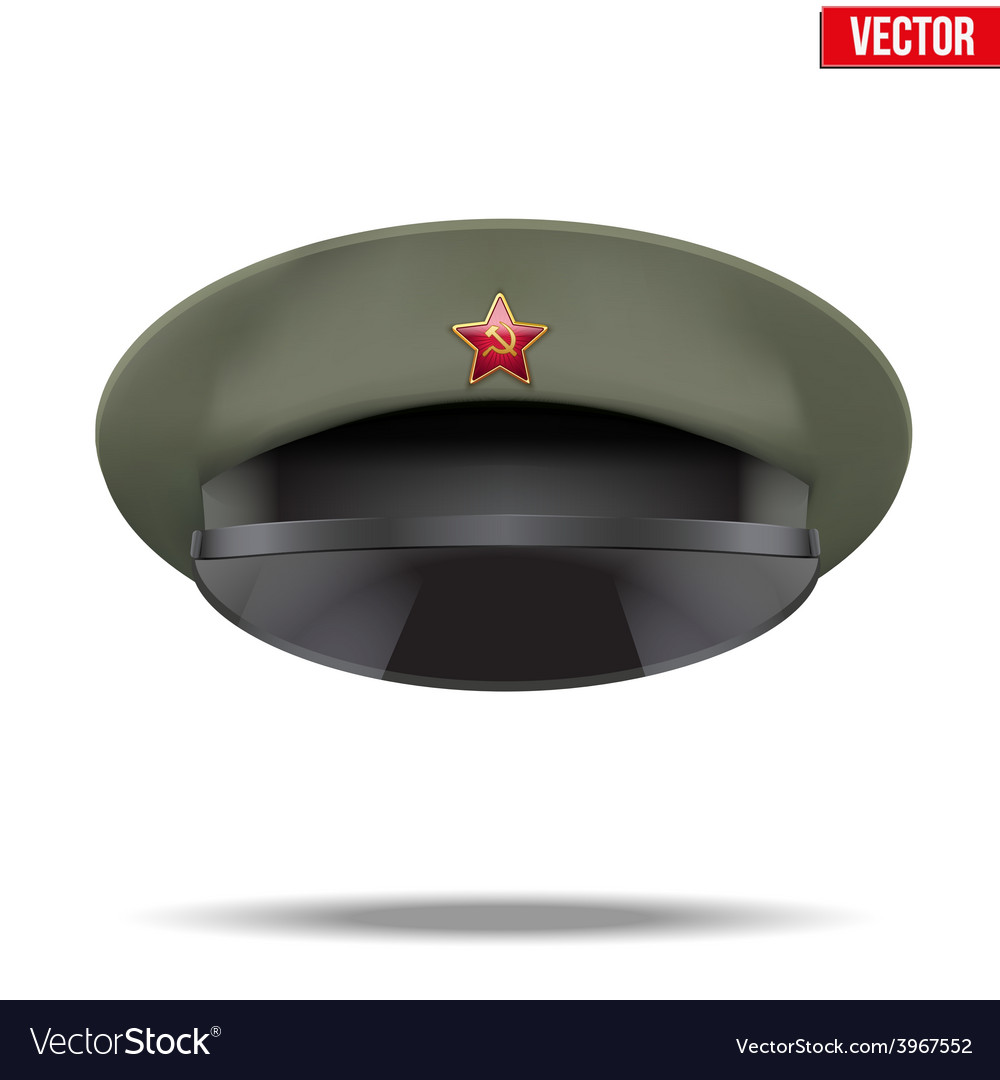 Russian military officer peaked cap with red star vector | Price: 1 Credit (USD $1)