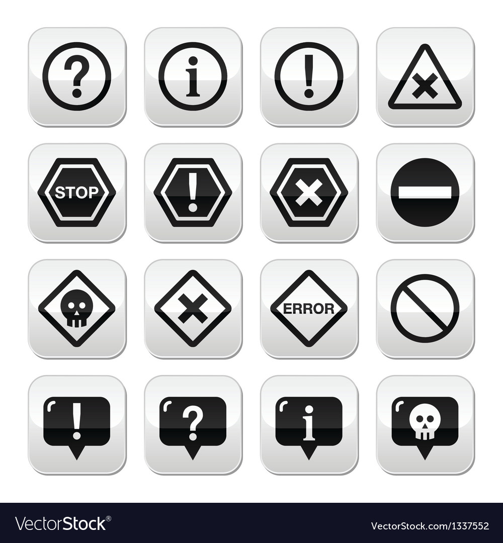 System buttons - warning danger error isolated vector | Price: 1 Credit (USD $1)