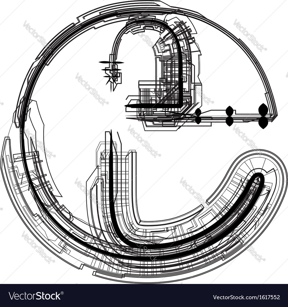 Technical typography letter e vector | Price: 1 Credit (USD $1)