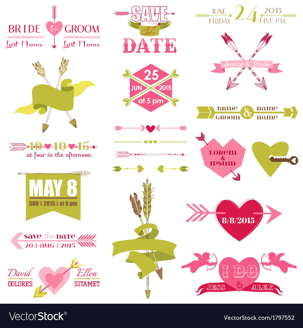 Valentine and wedding graphic set vector | Price: 1 Credit (USD $1)