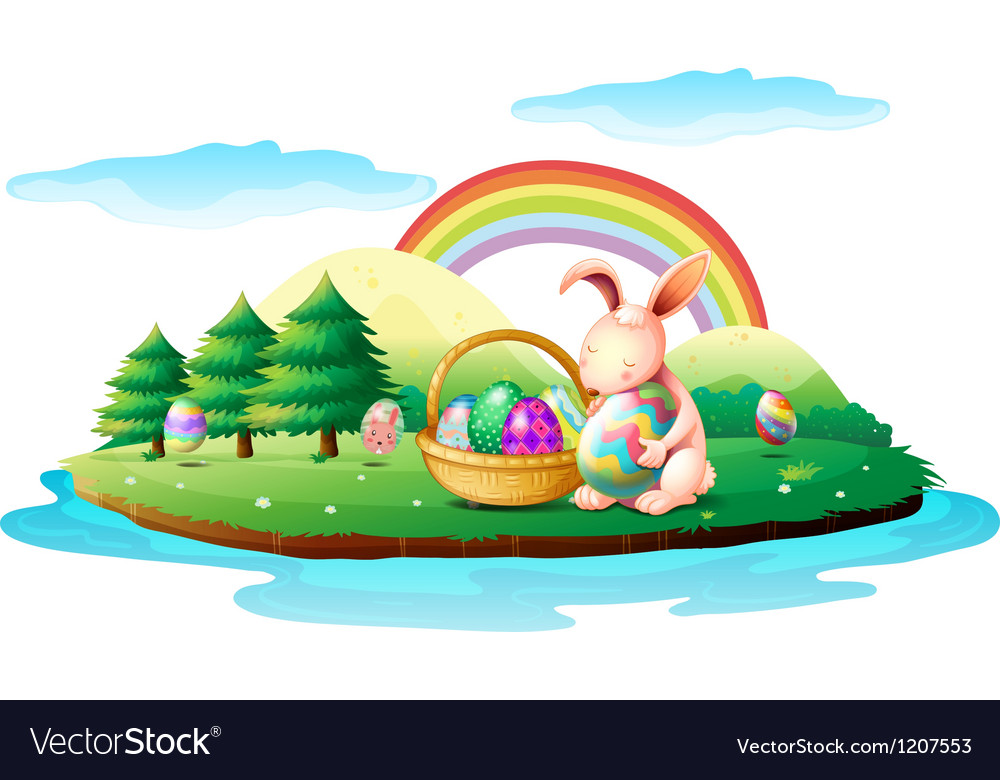 An island with a bunny and a basket of easter eggs vector | Price: 1 Credit (USD $1)