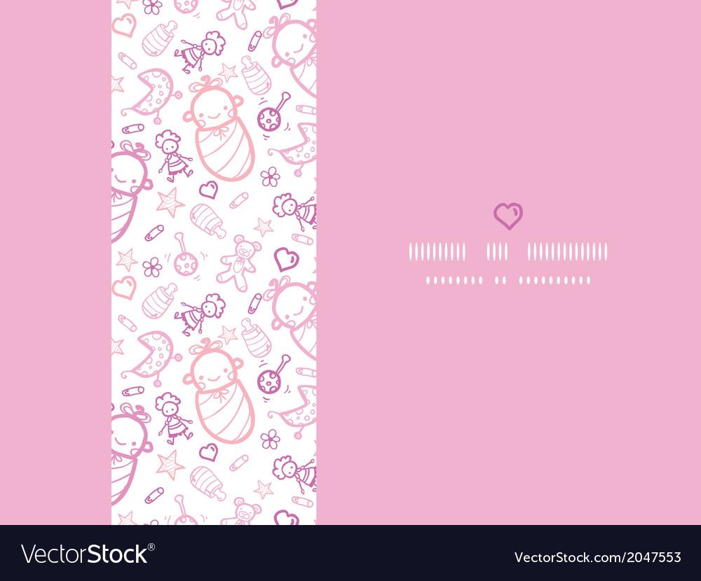 Baby girls horizontal frame seamless pattern vector | Price: 1 Credit (USD $1)