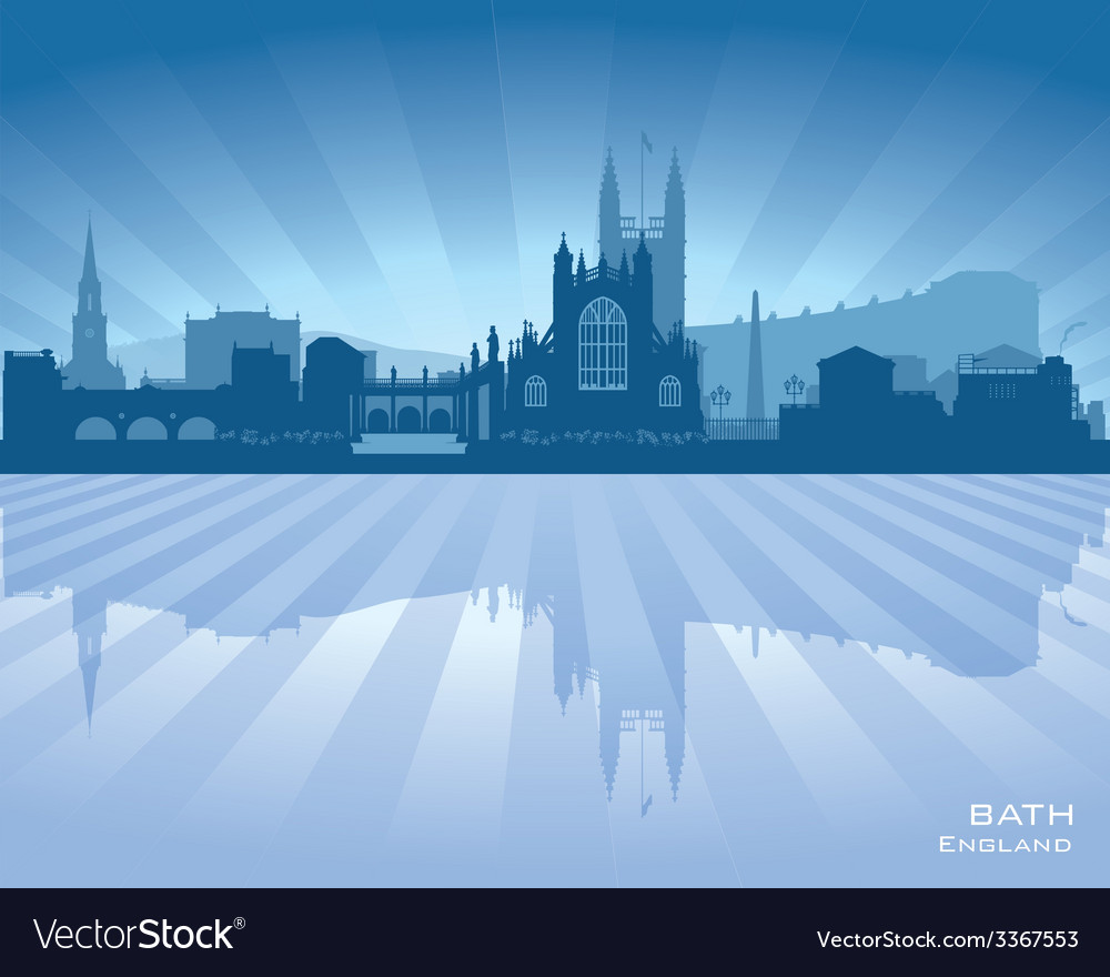Bath england skyline with reflection in water vector | Price: 1 Credit (USD $1)