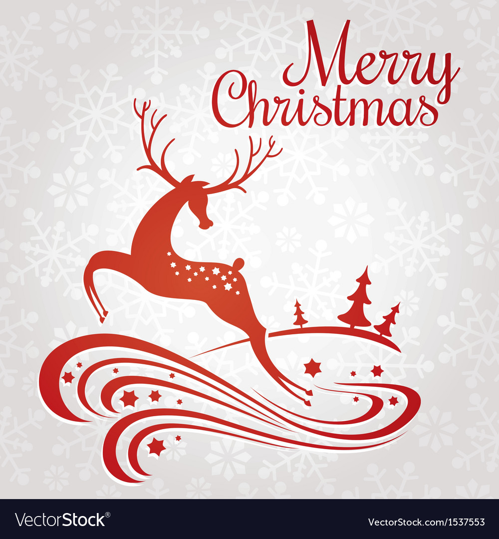Christmas greeting card with deer vector | Price: 1 Credit (USD $1)