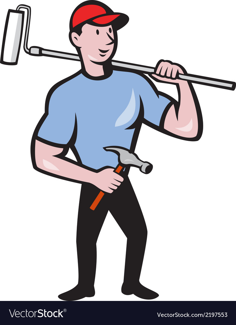 House painter holding paint roller cartoon vector | Price: 1 Credit (USD $1)