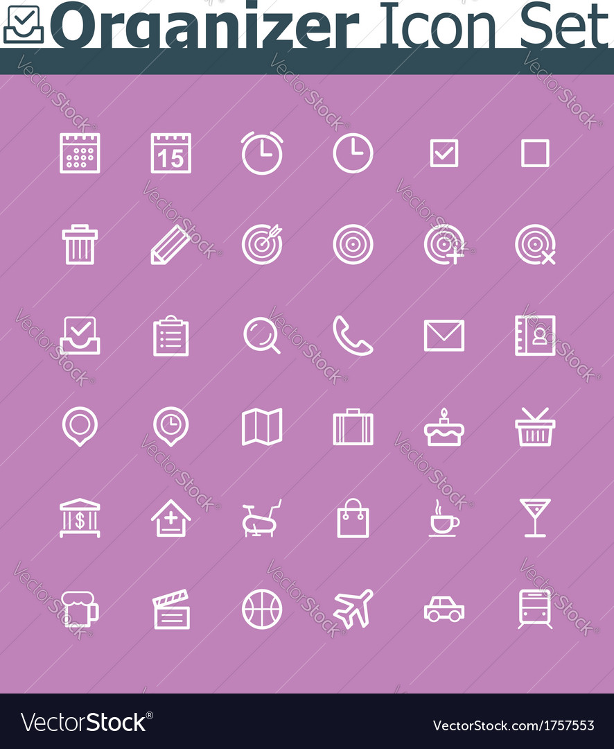 Organizer icon set vector | Price: 1 Credit (USD $1)