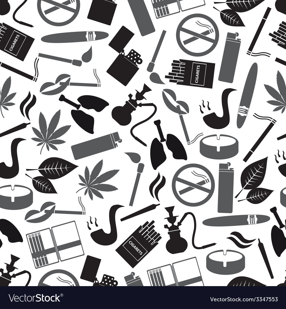 Smoking and cigarettes simple black icons pattern vector | Price: 1 Credit (USD $1)