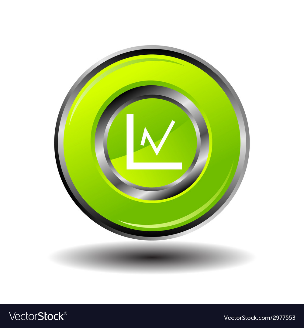 Statistics icon glossy green button vector | Price: 1 Credit (USD $1)