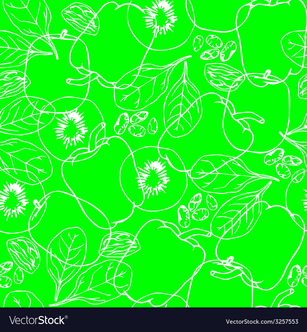 Vegetables contour seamless pattern vector | Price: 1 Credit (USD $1)