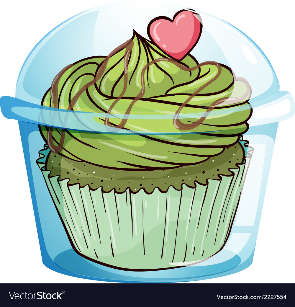 A cupcake with a green icing and a pink heart vector | Price: 1 Credit (USD $1)