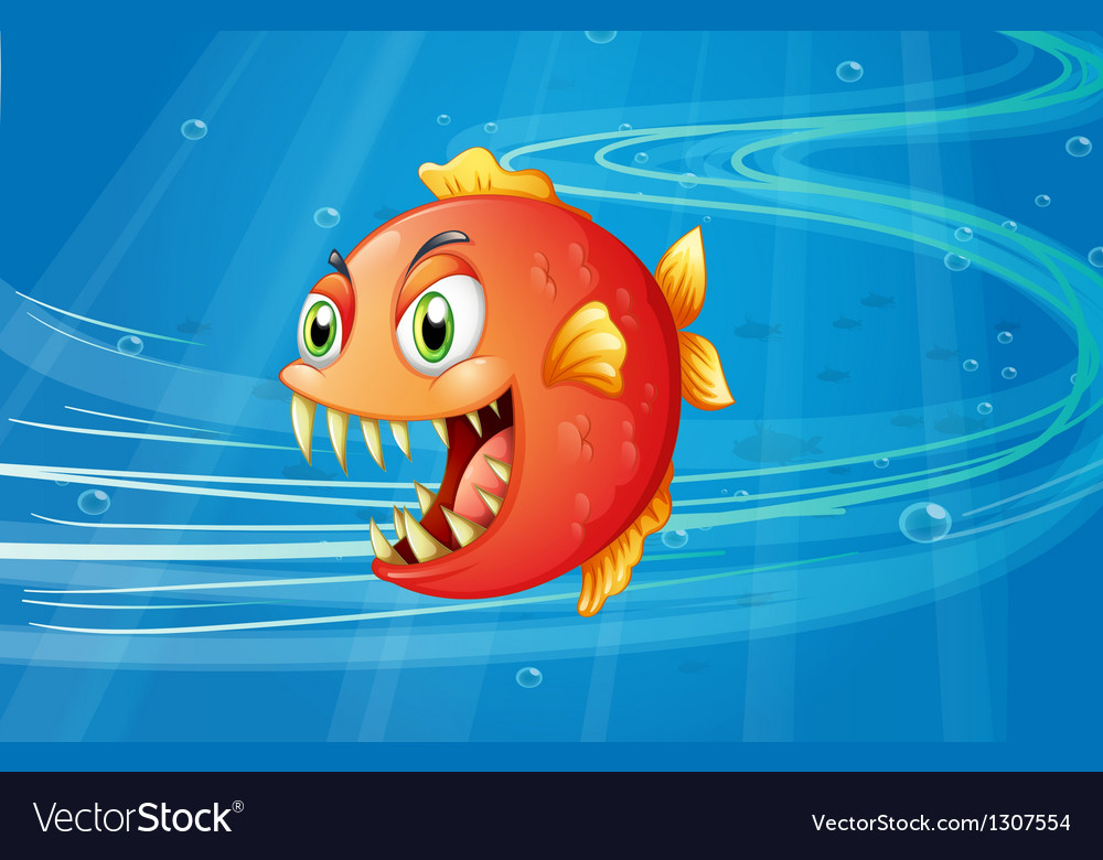 A red piranha under the sea vector | Price: 1 Credit (USD $1)