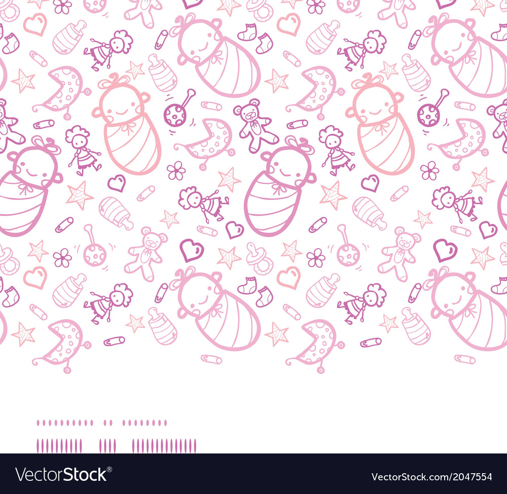 Baby girls horizontal border seamless pattern vector | Price: 1 Credit (USD $1)