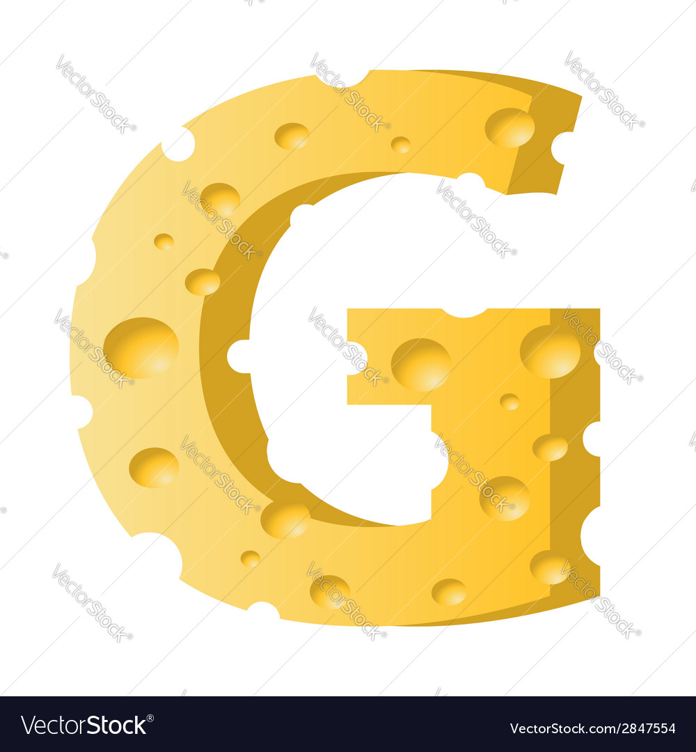 Cheese letter g vector   Price: 1 Credit (USD $1)