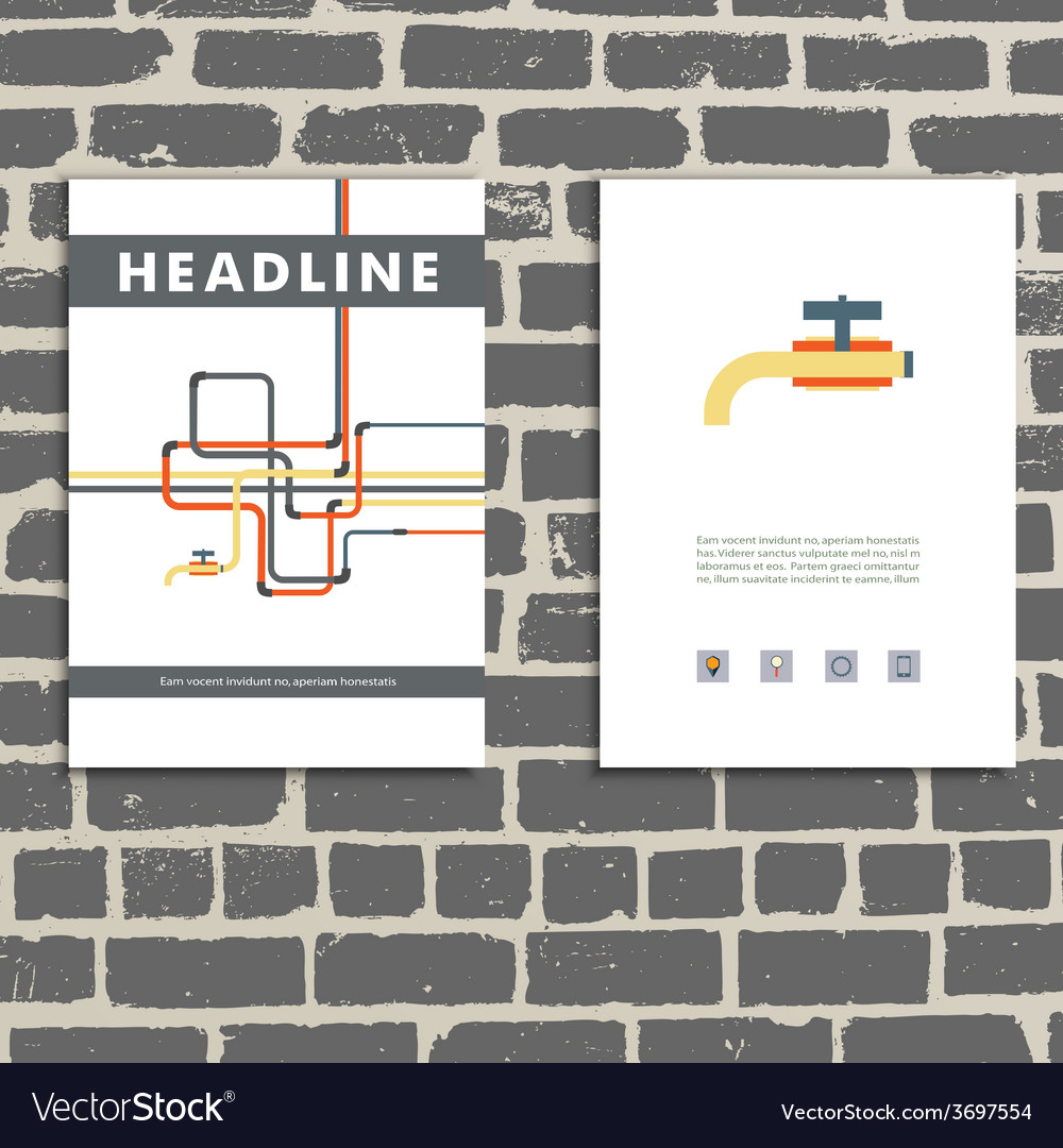 Cover book with background of water pipes vector | Price: 1 Credit (USD $1)