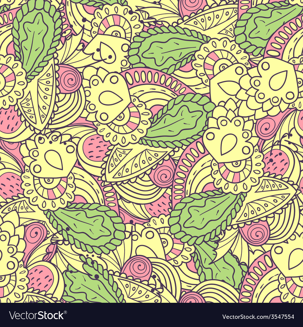 Hand drawn spring seamless pattern vector | Price: 1 Credit (USD $1)