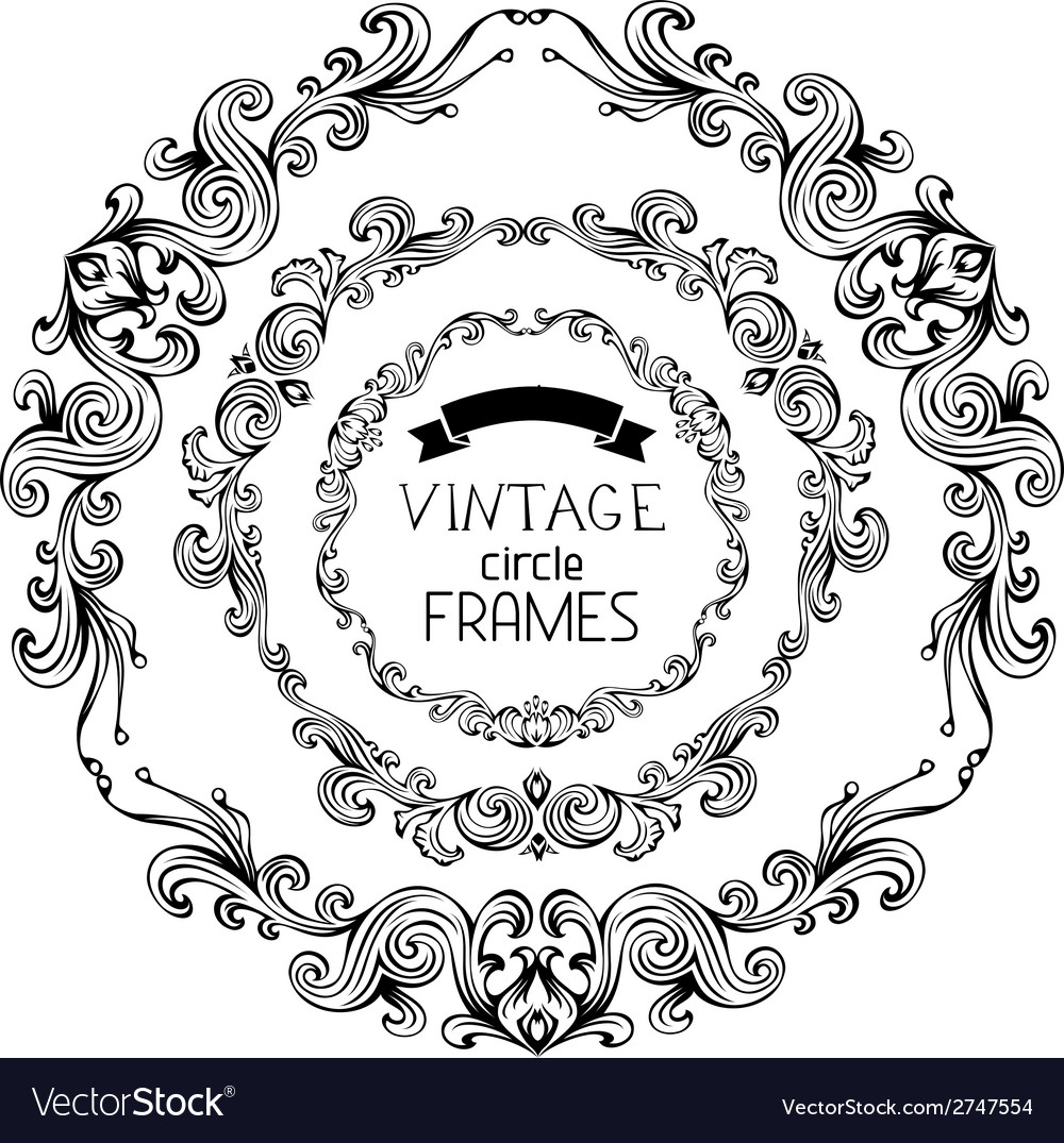 Set of vintage round frames vector | Price: 1 Credit (USD $1)