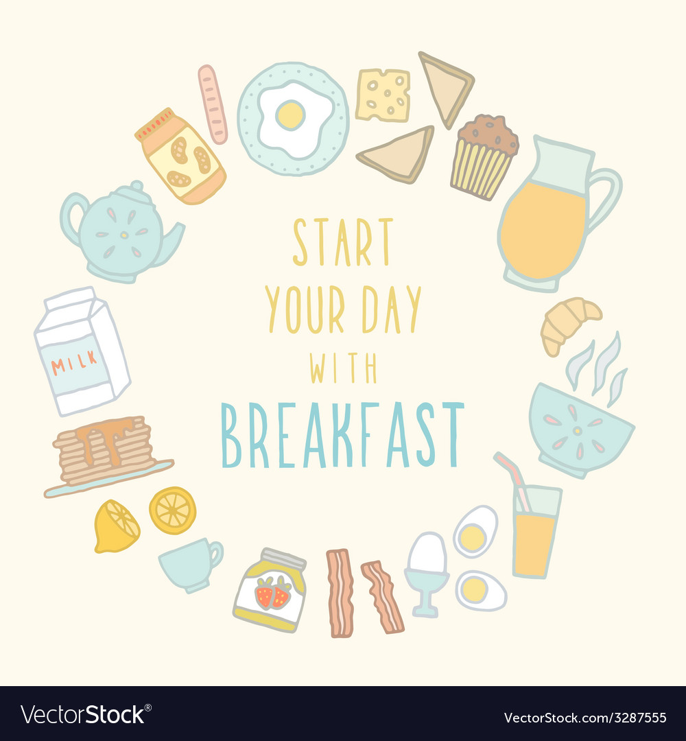 Breakfast food and drink vector