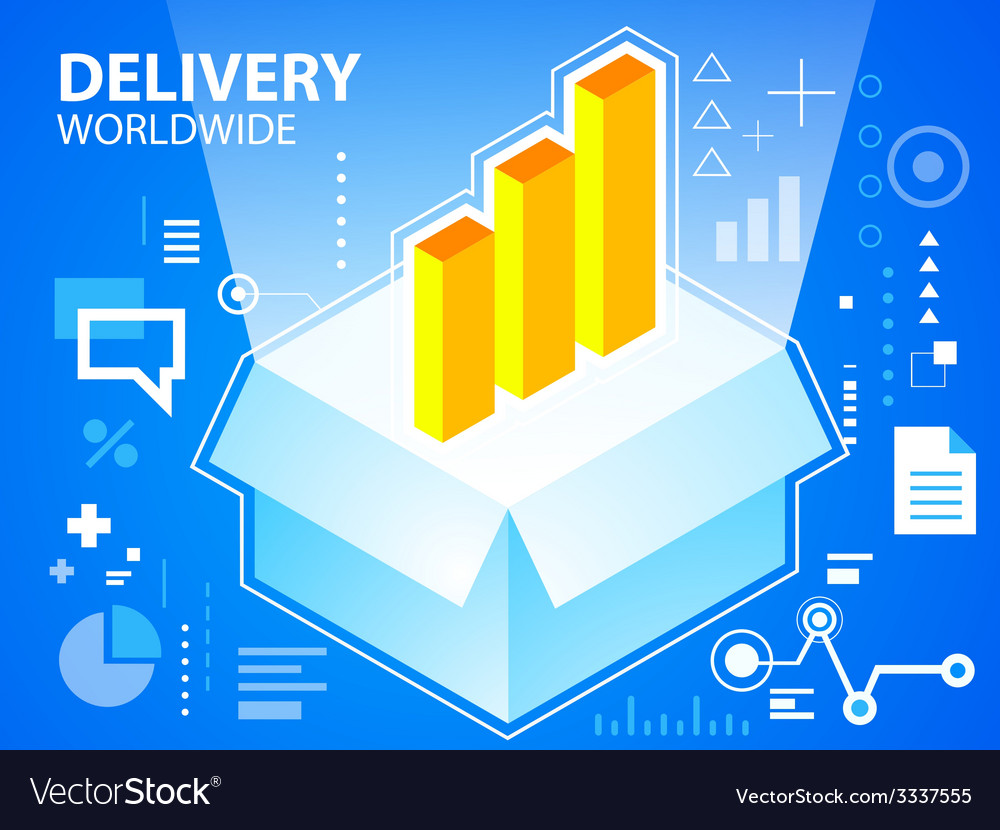 Bright delivery box and bar chart on blue ba vector | Price: 3 Credit (USD $3)