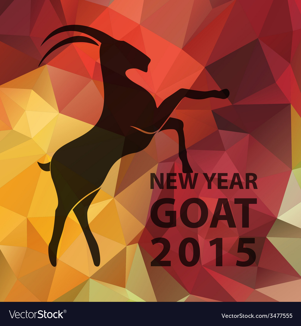 Chinese new year 2015 goat with golden geometric vector | Price: 1 Credit (USD $1)